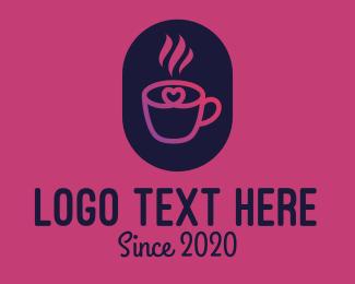 Hot - Hot Coffee Heart logo design