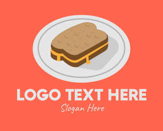 Toasted - Cheese Sandwich Plate logo design