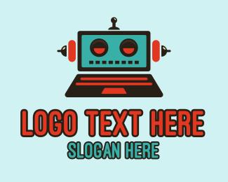 Droid - Robot Laptop logo design