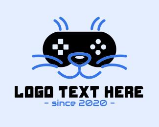Gamer - Green Gamer Cat logo design