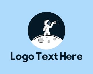 Megaphone - Moon Astronaut logo design
