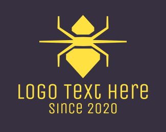 Spider - Yellow Diamond Spider logo design