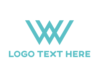 Letter V - Blue W  logo design