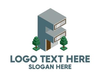 Trees - Modern Building Letter F logo design