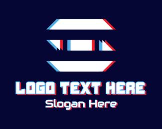 Polygonal - Glitch Polygonal Letter E logo design