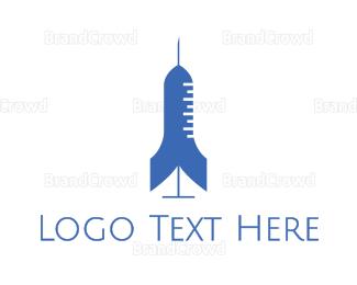 Injection - Rocket Syringe  logo design