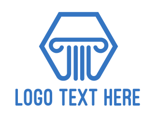 Pillars - Blue Hexagon Pillar logo design