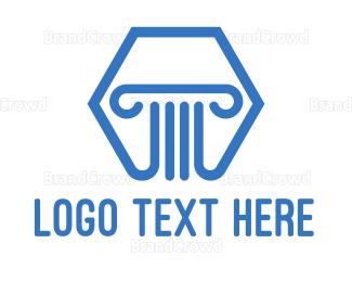 Realty - Blue Hexagon Pillar logo design