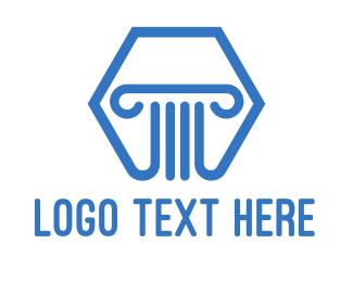 Blue Hexagon Pillar logo design