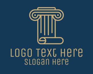 Concrete - Pillar Scroll Construction logo design