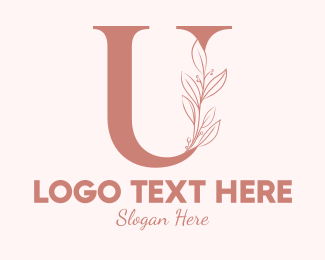 Aesthetics - Elegant Leaves Letter U logo design