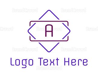Led - Neon Purple A Emblem logo design