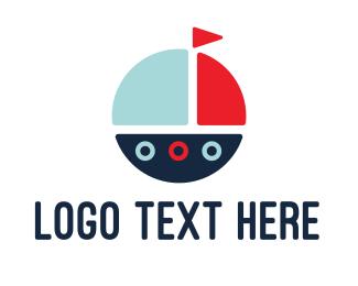 Sailboat - Cute Round Boat logo design