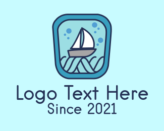Ocean - Sailboat Ocean Waves logo design