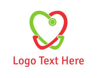 Dental - Heart Stethoscope logo design