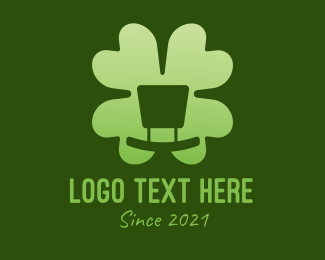 Leprechaun Hat - Green Cloverleaf logo design