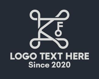 Unlocked - Elegant Silver Key Letter K logo design