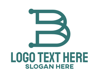 Teal - Vintage B Outline logo design