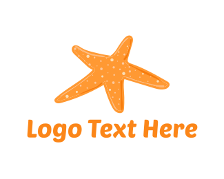 Orange And White - Orange Starfish  logo design