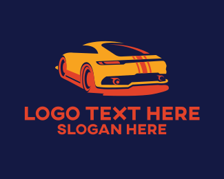 Modern Car - Orange Sports Car logo design