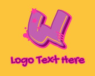 Record Producer - Graffiti Star Letter W logo design