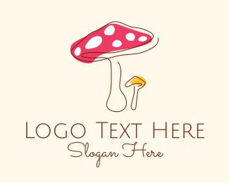 Fungus - Simple Line Art Mushroom logo design