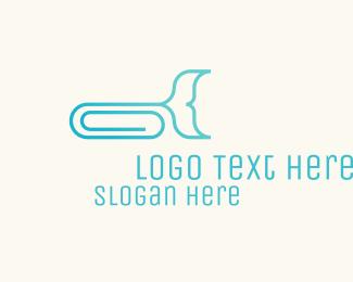 Paper Clip - Whale Paper Clip logo design
