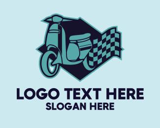 Italian - Blue Scooter Racing Flag logo design