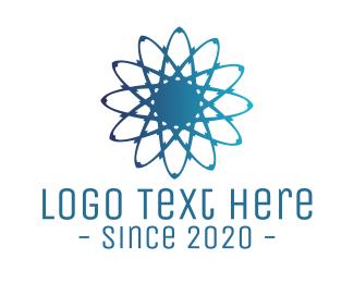 Atom - Blue Atom logo design