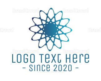 Technological - Blue Atom logo design