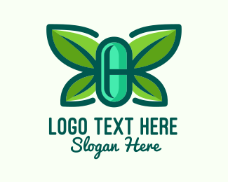 Organic Medicine - Organic Herbal Butterfly Pill logo design