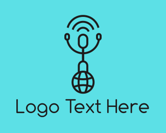 Link - World Globe Man Signal logo design