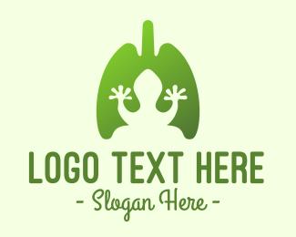 Chameleon - Green Frog Respiratory Lungs logo design