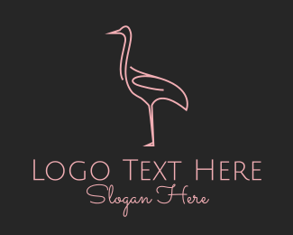 Zoo Animal - Pink Bird logo design
