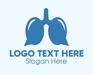 Contactless - Blue Respiratory Lungs Chat logo design