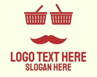Basket - Red Shopper Man logo design