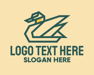 Mallard Duck - Geometric Farm Goose  logo design