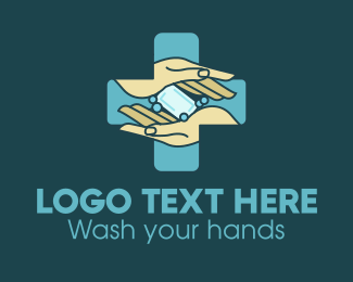 Covid19 - Hand Wash Soap Health Cross logo design