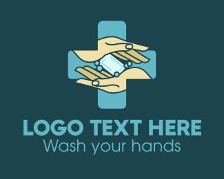 Hand Wash Soap Health Cross logo design
