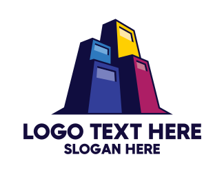 Gas Station - Colorful Building Contractor logo design
