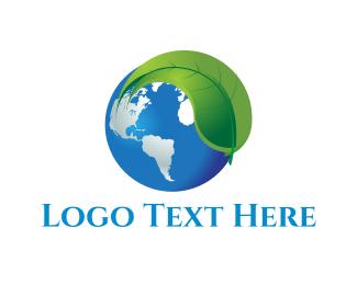 World - Leaf & Earth logo design