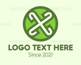 Rotation - Green X  logo design