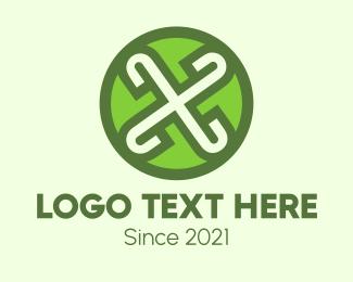Button - Green X  logo design