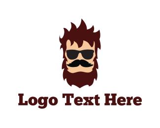Burning Man - Hipster Man logo design