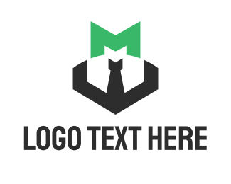 Green Tie - Green Letter M Businessman logo design