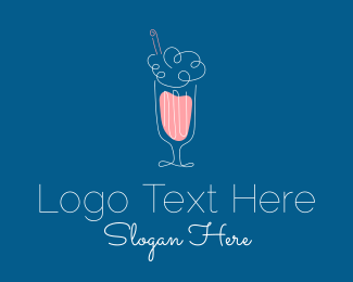Ice Cream Shop - Minimalist Ice Cream Milkshake logo design