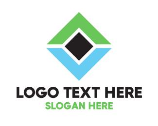 Asset Management - Green & Blue Diamond logo design