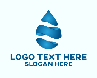 Mineral Water - 3D Liquid Water Droplet logo design