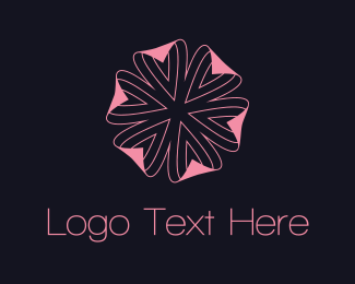 Black And Pink - Pink Flower logo design