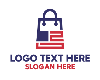 Outlet Store - Modern US Shopping Bag logo design